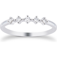 9ct White Gold 0.15cttw 5 Stone Stacker Ring - Ring Size P