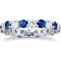 shop for Platinum Sapphire & Diamond Eternity Ring at Shopo