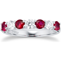 shop for Platinum Ruby & Diamond Claw Set Eternity Ring at Shopo