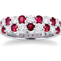 18ct White Gold Ruby and Diamond Two Row Ring