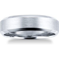 shop for 6mm brushed finish gents ring in palladium 950 - Ring Size S at Shopo