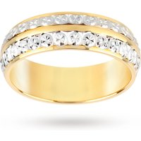 18 Carat Yellow And White Gold 2 Row Sparkle Cut Fancy Wedding Band