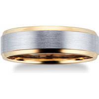 9ct Yellow Gold and Palladium Wedding Ring - Ring Size S