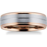 9ct Rose Gold and Palladium Wedding Ring - Ring Size V