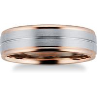 9ct Rose Gold and Palladium Wedding Ring - Ring Size R