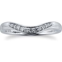 9ct White Gold 0.10 Total Carat Weight Diamond Set Shaped Band