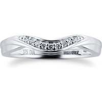 9ct White Gold 0.04 Total Carat Weight Diamond Wedding Band - Ring Size M