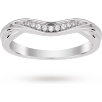 9ct White Gold 0.10cttw Diamond Wedding Ring - Ring Size O
