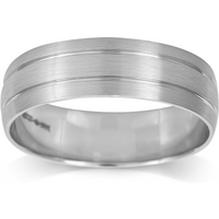 shop for Platinum Mens 2 Groove Fancy Wedding Ring - Ring Size P at Shopo