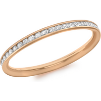 9ct Rose Gold Cubic Zirconia Band Ring - Ring Size L