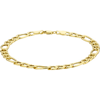 9ct Yellow Gold 6mm Hollow Diamond Cut Figaro Bracelet