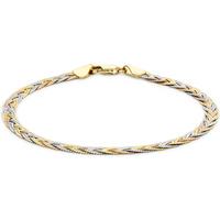 9ct Tricolour Gold Plait Herringbone Bracelet