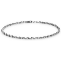 9ct White Gold Hollow Rope Bracelet