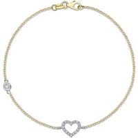 9ct Yellow Gold Cubic Zirconia Open Heart Bracelet