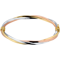 9ct yellow, white and rose gold bangle