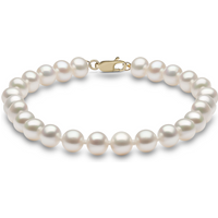 Image of 9ct Yellow Gold 6-6.5mm Freshwater Pearl Strand Bracelet