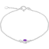 shop for Silver February Purple Cubic Zirconia Bracelet at Shopo
