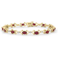 9ct Yellow Gold Ruby and Diamond Bracelet