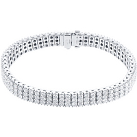 18ct White Gold 9ct 3 Row Diamond Bracelet