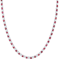 18ct White Gold Ruby and Diamond Line Necklace