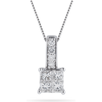 shop for 9ct White Gold 0.45ct Invisible Diamond Set Pendant at Shopo
