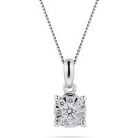 9ct White Gold 0.15 Carat Total Weight Diamond Multi Stone Pendant