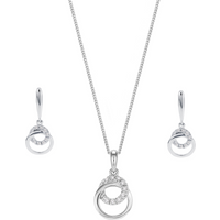 shop for 9ct White Gold 0.10ct Diamond Pendant and Earring Set at Shopo