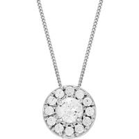 shop for 9ct White Gold 0.35ct Diamond Halo Pendant at Shopo