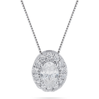 18ct White Gold 0.50cttw Oval Cut Halo Pendant