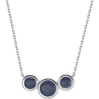 shop for 9ct White Gold Blue Sapphire Bezel Bar Necklace at Shopo