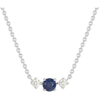 Carrington 18ct White Gold Sapphire and Diamond Single Cluster Necklace