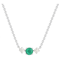 Carrington 18ct White Gold Emerald and Diamond Single Cluster Necklace