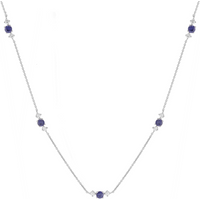 Mappin and Webb Carrington 18 White Gold Sapphire and Diamond 5 Cluster Necklace