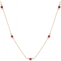 Mappin and Webb Carrington 18 Yellow Gold Ruby and Diamond 5 Cluster Necklace