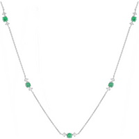 Mappin and Webb Carrington 18 White Gold Emerald and Diamond 5 Cluster Necklace