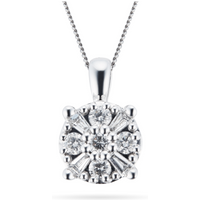 shop for 9ct White Gold 0.35ct Mixed Stone Cluster Pendant at Shopo