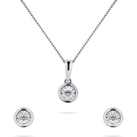 shop for 9ct White Gold 0.20cttw Diamond Pendant and Earring Set at Shopo