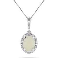 shop for 9ct White Gold Opal Halo Pendant. Pendant Size 9mm x 19mm at Shopo