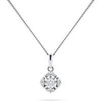 shop for 9ct White Gold 0.10cttw Diamond Floral Pendant at Shopo