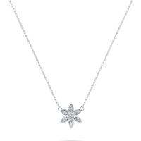 shop for Sterling Silver 0.05cttw Diamond Flower Pendant at Shopo