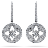 shop for Empress 18ct White Gold 0.88cttw Diamond Carriage Earrings at Shopo