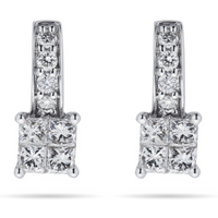 9ct White Gold 0.45ct Invisible Diamond Set Stud Earrings