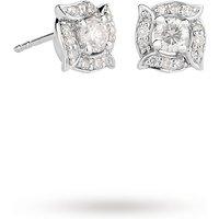 18ct White Gold 0.50ct Diamond Rosette Halo Stud Earrings