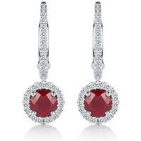 shop for Carrington 18ct White Gold 5mm Ruby and 0.30cttw Diamond Drops at Shopo
