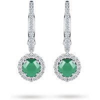 shop for Carrington 18ct White Gold 5mm Emerald and 0.30cttw Diamond Drops at Shopo
