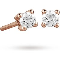 9ct Rose Gold 0.15ct 4 Claw Diamond Earrings