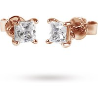9ct Rose Gold 0.15ct Princess Cut Stud Earrings