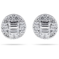 shop for 9ct White Gold Round & Baguette 0.25cttw Stud Earrings at Shopo