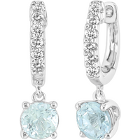 9ct White Gold Aquamarine & White Sapphire Hoops With Drop