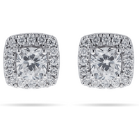 shop for 18ct White Gold 0.70cttw Cushion Cut Halo Stud Earrings at Shopo